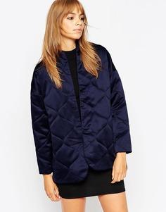 Стеганая атласная куртка ASOS Premium - Темно-синий