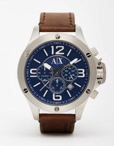 Часы с кожаным ремешком Armani Exchange AX1505 - Коричневый