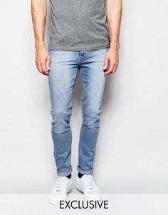 Голубые джинсы скинни с дырками на коленях эксклюзивно для Cheap Monday - Стираный синий деним