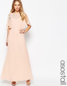 Платье макси с рукавом‑бабочкой и отделкой ASOS TALL - Телесный