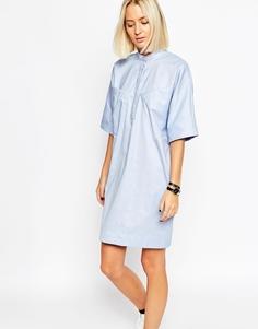 Платье-рубашка со складкой сзади ASOS WHITE - Синий