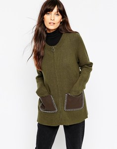 Вязаная куртка‑пилот с карманами из искусственной кожи ASOS - Зеленый