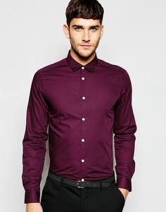 Элегантная бордовая рубашка с длинными рукавами ASOS - Красный