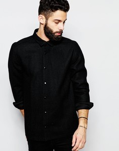Твидовая рубашка навыпуск с карманами и длинными рукавами ASOS - Черный