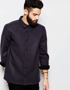 Твидовая рубашка навыпуск с карманами и длинными рукавами ASOS - Темно-синий