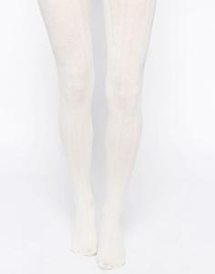 Трикотажные колготки в рубчик с вязкой косичкой ASOS - Кремовый