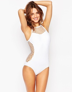 Cлитный купальник Seafolly Mesh About - Белый