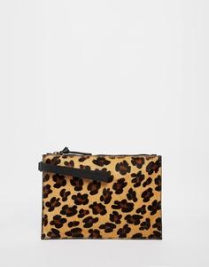 Леопардовый клатч с отделкой под ворс пони Faith - Леопард и пони