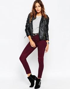 Зауженные брюки со швами на коленях в байкерском стиле ASOS - Темно-бордовый