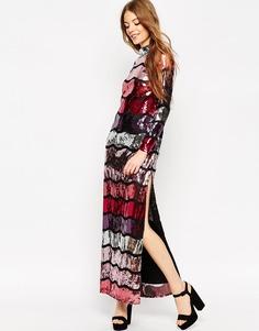 Платье макси с длинными рукавами и пайетками ASOS - Мульти