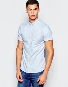 Зауженная оксфордская рубашка с короткими рукавами New Look - Синий Asos