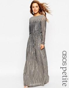 Платье макси с длинными рукавами и пайетками ASOS PETITE - Серый
