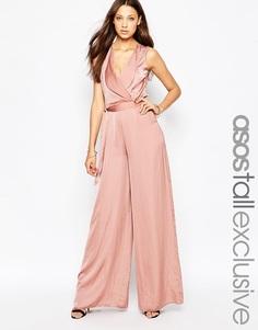 Комбинезон с широкими штанинами и запахом спереди ASOS TALL - Розовый