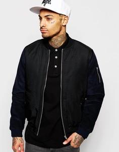 Куртка-пилот с вельветовыми рукавами Rascals - Темно-синий