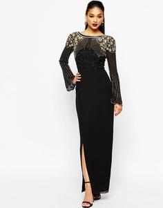 Платье макси с отделкой, длинными рукавами и запахом на юбке Virgos Lounge