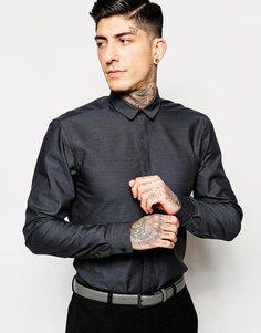Рубашка в строгом стиле со скрытой планкой Minimum - Угольный меланжевый