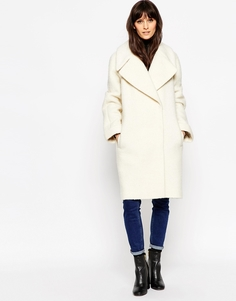 Oversize-пальто с отворотами на манжетах ASOS - Кэмел