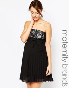 Платье без бретелек для беременных с отделкой пайетками Ripe Maternity Sophie - Черный