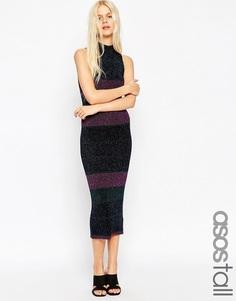 Платье миди в полоску металлик ASOS TALL - Мульти