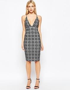 Облегающее платье миди с глубоким вырезом спереди Oh My Love - Geo flock