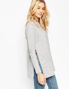 Удлиненный свитер с разрезами по бокам ASOS - Серый меланж