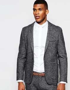 Шерстяной пиджак узкого кроя Vito - Серый