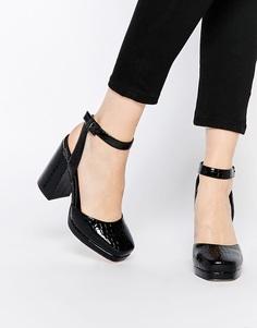 Туфли на высоком каблуке ASOS PENTAGON - Черный крокодил