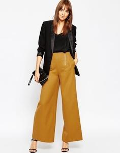 Широкие брюки с молнией ASOS - Горчичный