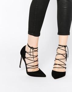 Туфли на высоком каблуке с заостренным носком и шнуровкой ASOS PROP - Черный