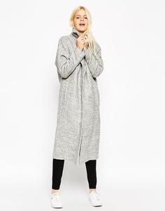 Пальто средней длины с рукавами летучая мышь ASOS - Серый меланж