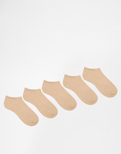 Комплект из 5 пар телесных спортивных носков ASOS,