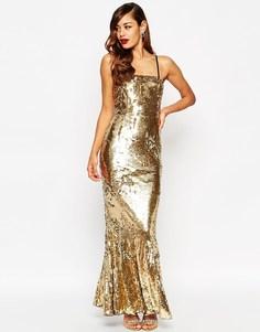 Платье-бандо макси с отделкой пайетками и юбкой-годе ASOS RED CARPET - Золотой