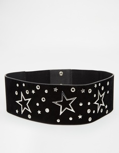 Широкий ремень с люверсами в форме звезд ASOS - Черный