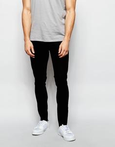 Супероблегающие джинсы с необработанным краем ASOS - Черный