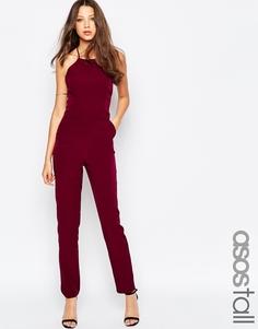 Комбинезон-халтер ASOS TALL Premium - Темно-бордовый