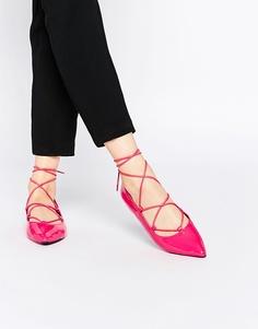 Балетки на шнуровке ASOS LYRIC - Розовый