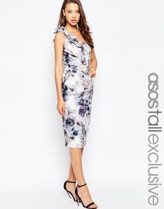 Платье миди на одно плечо с принтом ASOS TALL - Мульти
