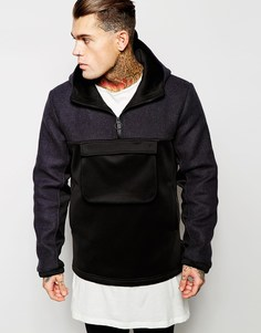 Темно-синяя твидовая куртка через голову ASOS Harris - Темно-синий
