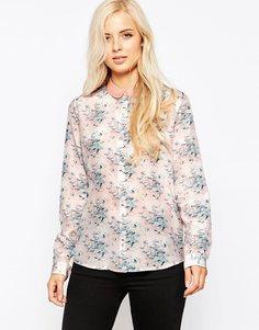 Рубашка из хлопка и шелка с цветочным принтом Maison Scotch - Мульти