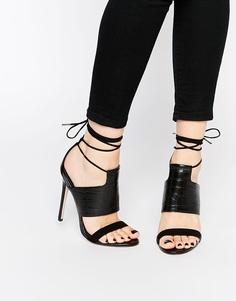 Босоножки на каблуке со шнуровкой ASOS HENDRICKS - Черный