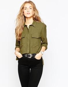 Oversize-рубашка в стиле милитари ASOS Premium - Хаки