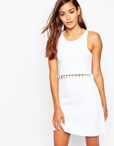 Трикотажное платье со шнуровкой ASOS Premium - Белый