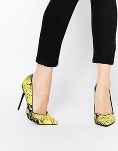 Остроносые туфли на каблуке ASOS POCKET - Желтый питон