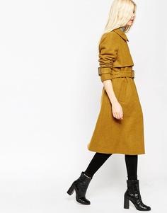 Шерстяное пальто с элементами тренча ASOS - Желтый