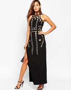 Платье макси с люверсами ASOS - Черный