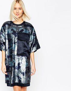 Платье в стиле милитари с отделкой пайетками ASOS WHITE - Синий