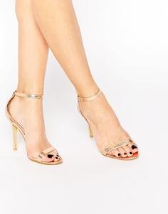 Золотистые сандалии на каблуке Glamorous - Розовое золото