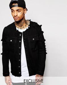 Черная потертая джинсовая куртка Liquor & Poker - Черный