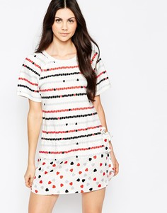 Трикотажное платье с тканой заниженной кромкой See By Chloe - Белый