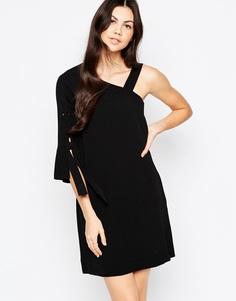 Ассиметричное платье с завязкой на рукаве See By Chloe - Черный